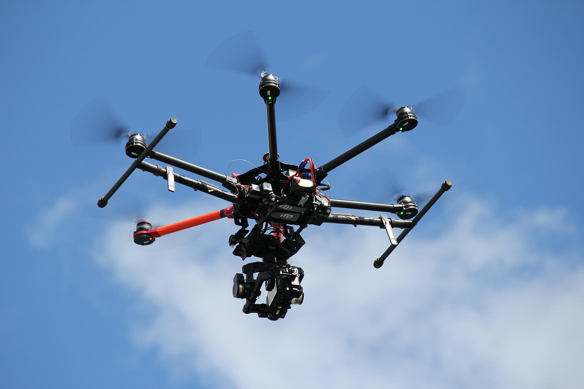 Drone camera in flight