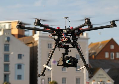 Aerial filming using a drone camera.